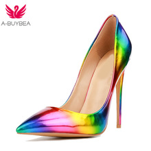 2019 Women Pumps Rainbow Color Super High Heels Sexy Pointed Toe Slip-on Wedding Party Shoes Lady Thin Heels Spring Shoes dorisfanny night club super sexy high heel pumps party shoes for women rainbow color changing women wedding shoes