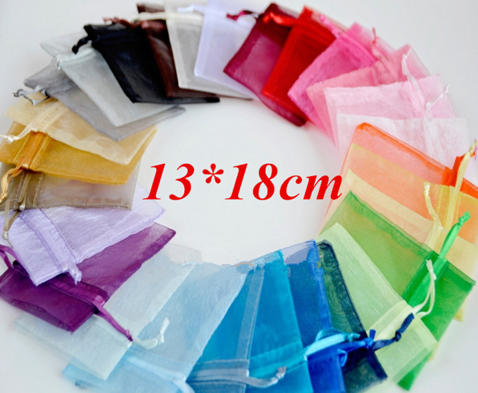 Wholesale Organza Bag 13x18 Cm Jewelry Packaging Display Pouches Wedding Christmas Gift Bags Jewelry Bags & Pouches 100pcs/lot