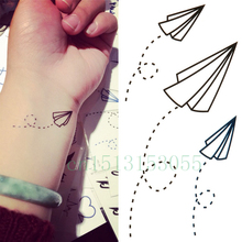 Temporary Tattoo Sticker 10.5*6cm paper Airplane tattoo Water Transfer Fake Tattoo Flash tattoo Waterproof  colorful Body Art
