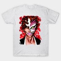 2017 Summer Newest Anime Bleach T Shirt Hipster Cool Kurosaki Ichigo Number 6 White Print T