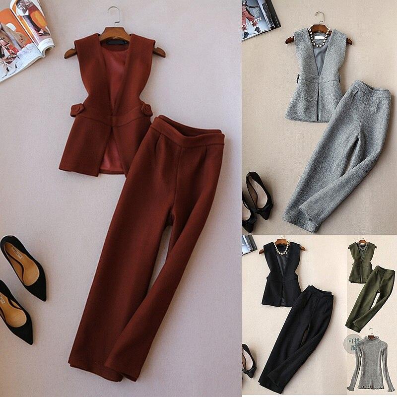 Elegant Handsome Office Lady OL Woolen Vest and Wide Leg Pants Clothing Set Women Winter Wool