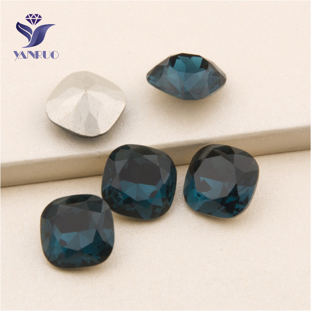 YANRUO  4470 All Sizes Montana Cushion Cut Glass Stones Strass Point Back  Crystal Sew On Rhinestone For Jewelry Making c1871545cefb