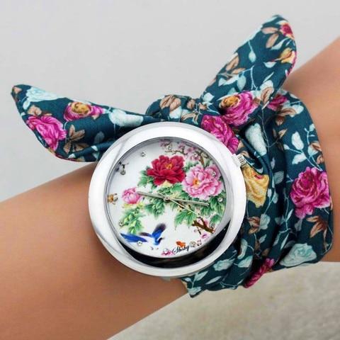 shsby 2018  New design Ladies flower cloth wrist watch fashion women dress watch high quality fabric clock sweet girls watch Islamabad