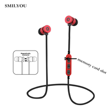 SMILYOU T9 Metal Magnetic Bluetooth 4.2 Earphone Headset Sport Wireless Bluetooth Headset With Microphone TF memory card slot