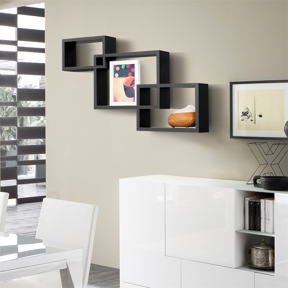 Finether 3 Piece Intersecting Rectangular Floating Wall Shelves Wall ...