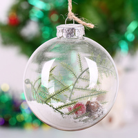 Christmas Tree Ornament Ball Pine Twig White Snow Alike Openable Glass Ball Party Holiday Festival Message