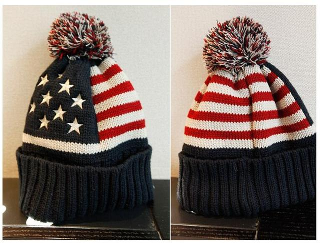 DHL 100 pieces usa american flag Embroidery star Beanie hat wool warm knitted cap hat for man women Skullies Beanies 56-58 cm