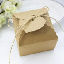 Free Shipping 50pcs/pack Kraft Paper Wave Side Gift Box with Jute Tie Wedding Candy Boxes Brithday Party Favor