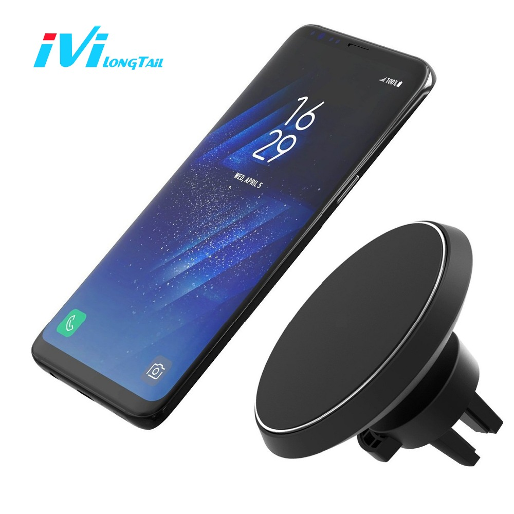 IVI Wireless Car Charger Air Vent Mount Magnetic Adsorption Holder Stand Car Charger Wireless Qi Receiver
