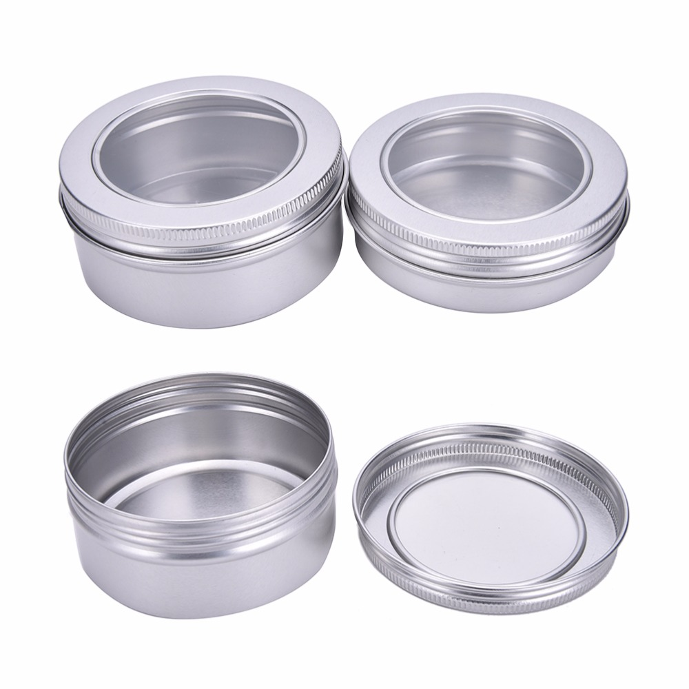 100/150ml Aluminium Lip Balm Pots Container Makeup Cosmetic Cream Jar Pot Bottle With Clear Top View Window