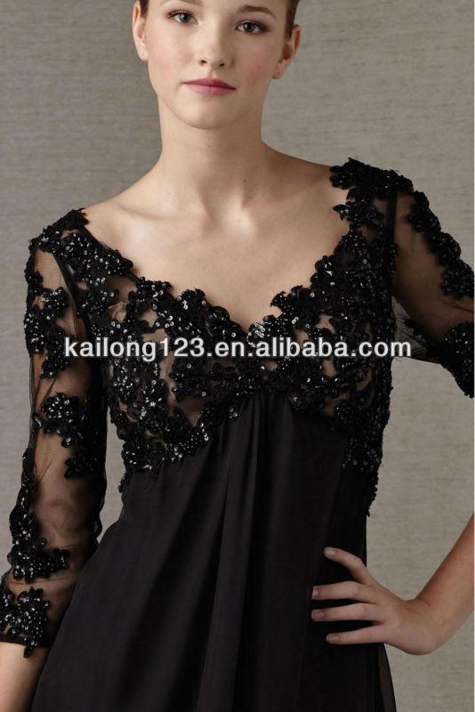 Sleek Beaded Bodice 34 Sleeves V Neck Back Black Empire Waist