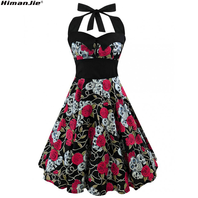 HimanJie Retro Vintage Style Sleeveless 3D Skull Floral Printed 2018 Summer Women Dress Halter Plus Size Party Sexy Casual Dress
