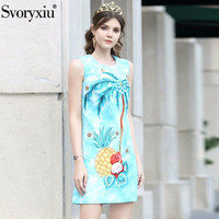 Svoryxiu 2019 New Runway Summer Jacquard Tank Blue Dress Women's Beading Fruit Coconut Tree Print Holiday Party Mini Dresses