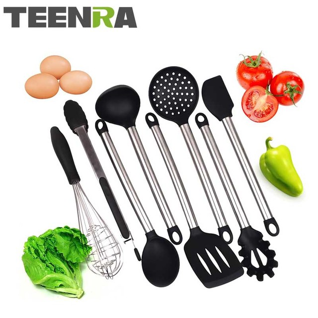 TEENRA 8Pcs/set Black Silicone Kitchen Utensil Set Cooking Tools Stainless  Steel Handle Cake Tools