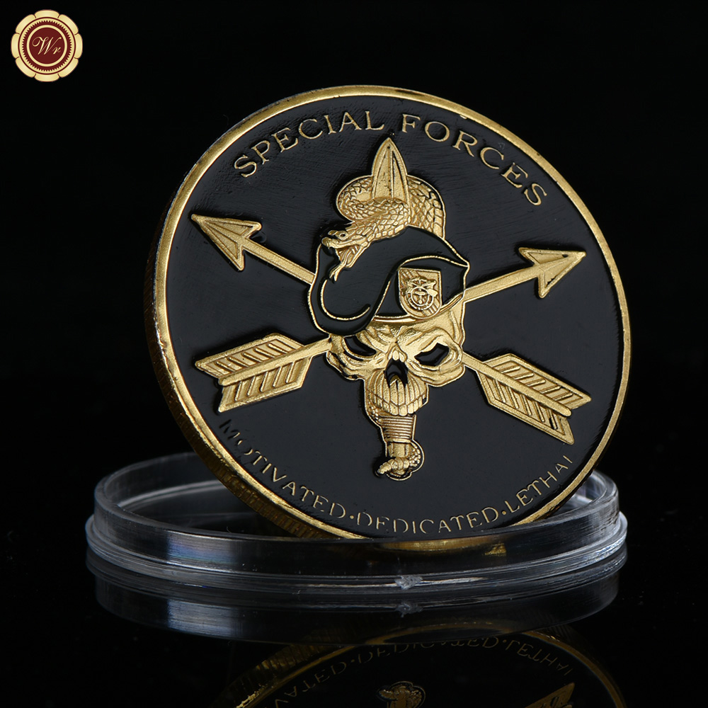 Wholesale Motivated Dedicated Lethal Special Forces Coin Fancy Pure Gold Plated United States Army Special Forces Challenge Coin