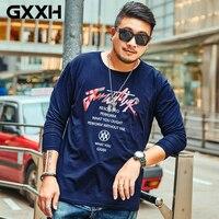 2018 Tshirt Extra Plus Size Male 5XL 6XL 7XL Oversize T Shirt Men Letter Printed Long Sleeve Cotton T shirt Autumn Dark Blue Tee