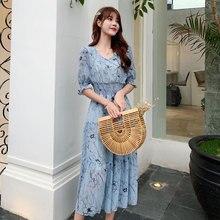 Summer Chiffon Dress Womens Blue Sexy Boho Elegant Short-sleeve O-neck Beach Midi Vintage White Dresses Woman Party Night