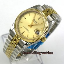 Casual 36mm Parnis rose golden dial womens watches military army sapphire glass steel case miyota Automatic Women's Watch