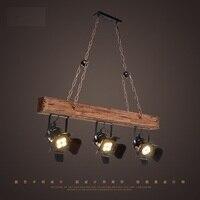 Loft Style Creative Wooden Droplight Industrial Vintage LED Pendant Light Fixtures Dining Room Hanging Lamp Indoor Lighting