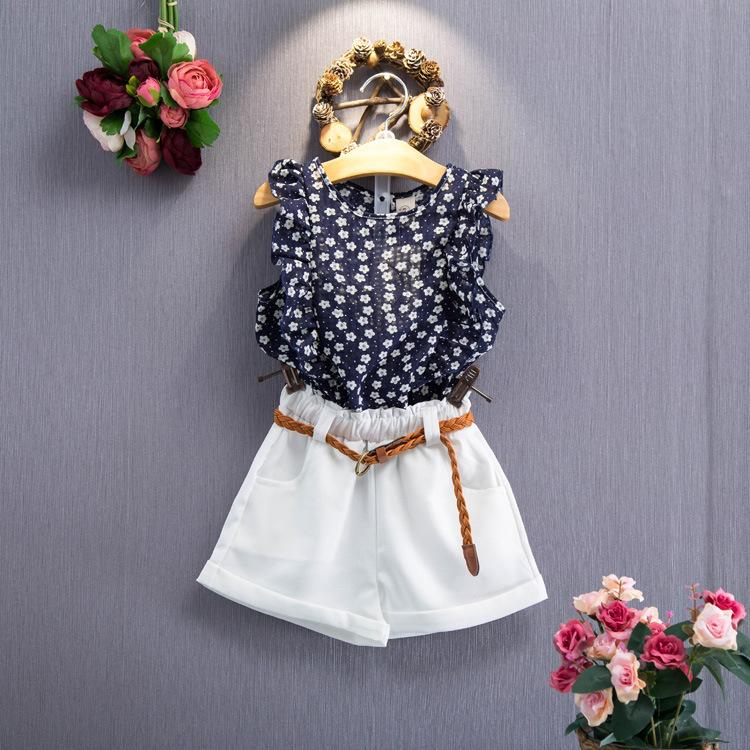 Fashion Floral Girls Suits 2017 New Summer Kids Clothes Tops+Shorts Children Clothing with Waistband Girl Set  2 3 4 5 6 Year retail 2016 summer new arrival girls clothing set shirt shorts 2 pcs set girl clothes kids suits 2