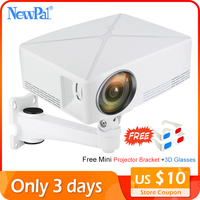 Newpal Mini Projector 3D Projector Home Cinema Android WIFI Option 2200Lumen 720P Beamer LED Proyector C80 Brazil with Bracket