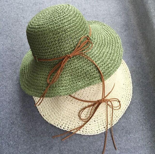Tejido A Mano de la vendimia Arco Grande Ala Playa Sombrero Femenino de Verano Adulto mujeres Casual Solid Damas Sombrero de Paja Sombreros Sombreros Chapeau Femme