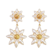 ECODAY Korean Earrings Statement Flower Pearl Women Long Aretes 2019 Pendientes Brincos Jewelry