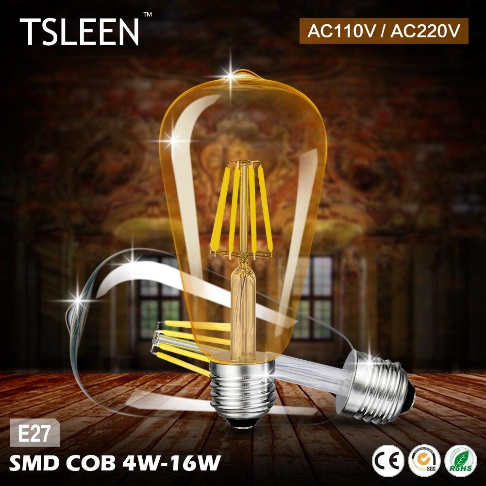 TOP!18 +Cheap+ 1Piece Retro E27 4/8/12/16W Edison Filament Bulb Gold/Transperent LED Light ST64 Drop Lamp 110V/220V # TSLEEN