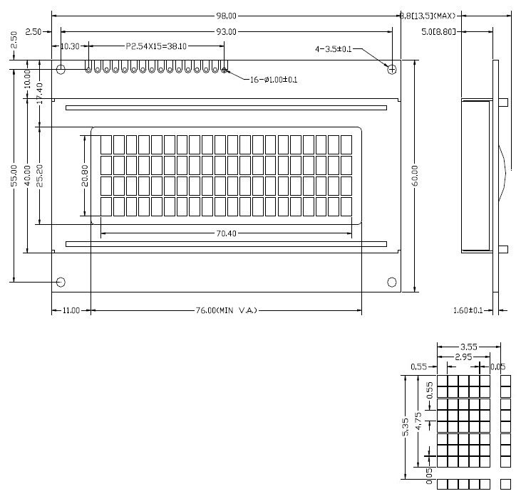 Parts 5V LCD 2004 LCD Module 20x4 20*4 Character LCM Display TN/STN Blue Backlight White Character with HD44780 / KS0066 IC