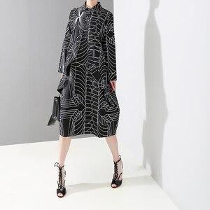 Image 4 - 2020 Korean Style Women Loose Plus Size Black Shirt Dress Long Sleeve Striped Printed Ladies Casual Midi Party Dresses Robe 4703