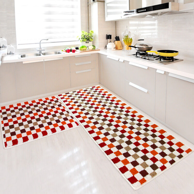 Blue/red/green 2 Piece Sets Rubber Backing Non-slip Kitchen Rug And Carpets Animal Mosaic Small Lattice Design Bathroom Rugs Mat