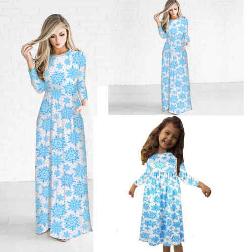 Mother and Daughter Casual Boho Stripe Maxi Mommy&Me Matching Set Outfits Dress