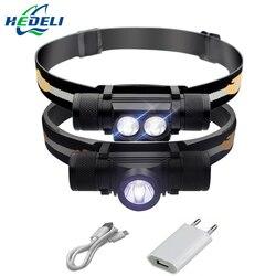 Светодиодные фары USB CREE XM L2 Фара Водонепроницаемый головного Фонарик светодиодный головной свет 18650 аккумуляторные батареи на природе свет...