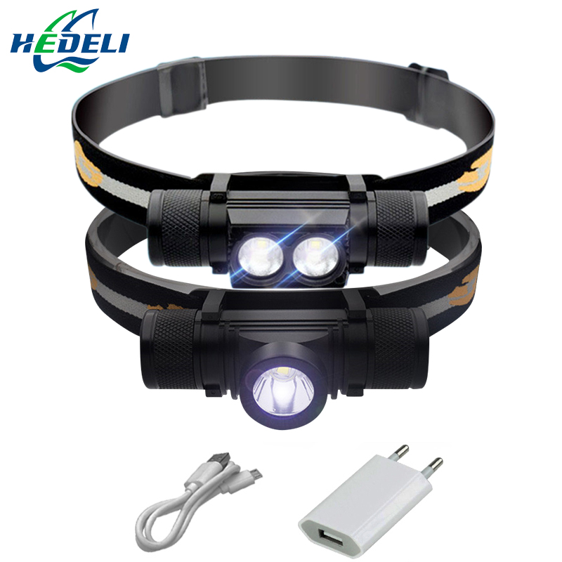 led headlamp USB cree xm l2 headlight waterproof Head flashlight torch led head light 18650 rechargeable battery camping light