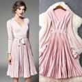 Free Shipping Dress Autumn Spring Ladies V-Neck High Quality Knitting Long Sleeved Medium-Long Casual Basic Sweater Dress Knit