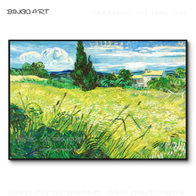 Artist Hand-painted High Quality Green Wheat Field with Cypress Trees Oil Painting Reproduce Van Gogh