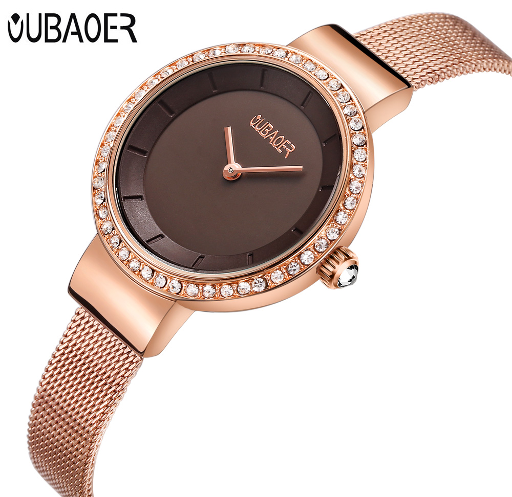 Women Watch OUBAOER Quartz Relojes Women Bracelet Watch Ladies Relogio Feminino Rose Gold Mesh Steel Fashion Casual Wristwatch спортивная футболка foreign trade and exports ni ke