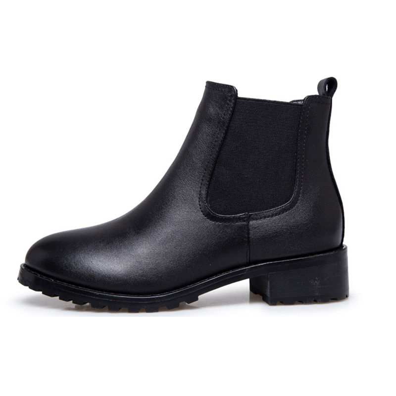 Black Matte Microfiber Platform Women Ankle Boots  With or Without Fleece Inside Woman Winter Shoes men without women