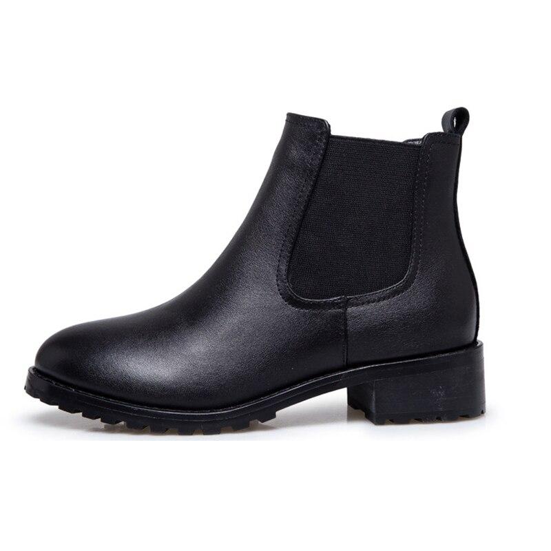 Black Matte Microfiber Platform font b Women b font Ankle Boots With or Without Fleece Inside