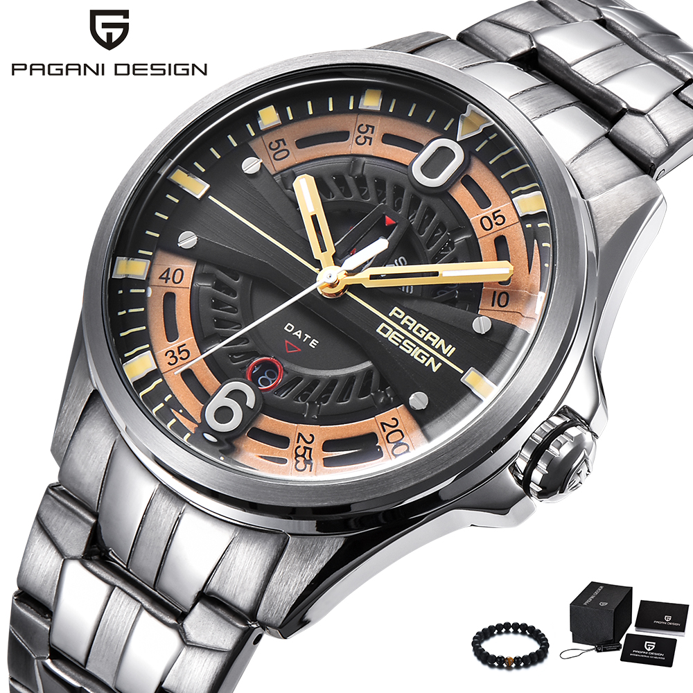 PAGANI Design Top Luxury Brand Watches Mens Stainless Steel Band Fashion Business Quartz Watch Wristwatch Male top brand julius men watches luxury stainless steel mesh band gold watch man business quartz watch male wristwatch relogio homme