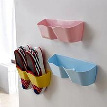 25*7*8cm Wall-Mounted Sticky Hanging Shoe Holder Hook Shelf Rack Organiser Accessories Storage Holder with 1pc Double Sides Tape