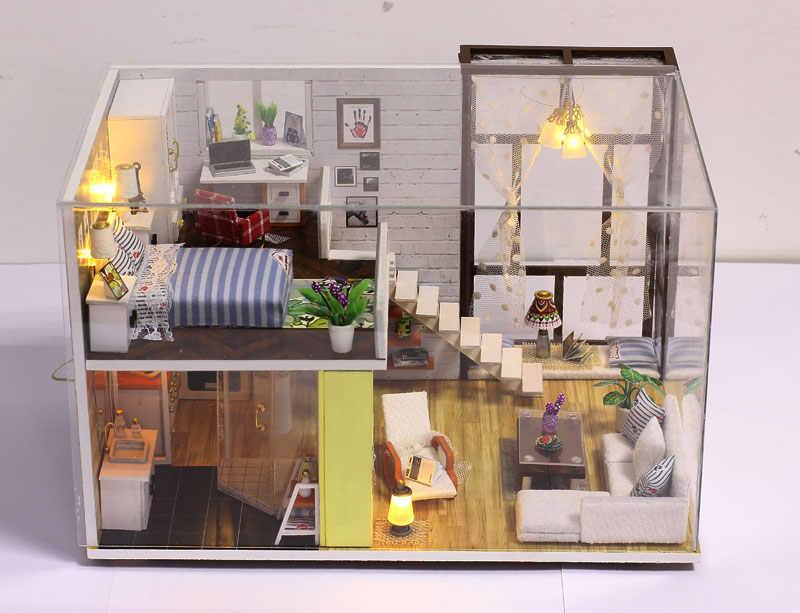 Новый кукольный дом игрушка деревянные маленькие Кукольный дом Лофт с кухня спальня ванная комната лучший детский подарок Diy кукольный домик игрушки для детей