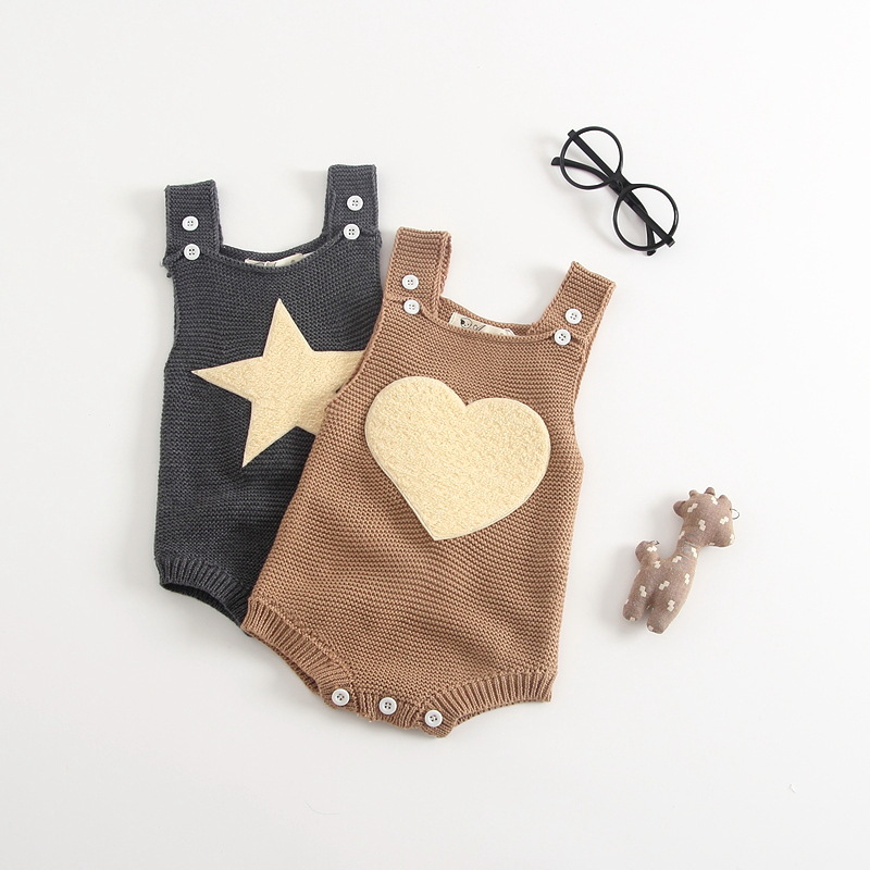 New Gray Khaki Knit Baby Jumpsuit Autumn Spring Overalls for Children Toddler Baby Knitted Romper with Love Heart and Star Shape sleep professor spring love