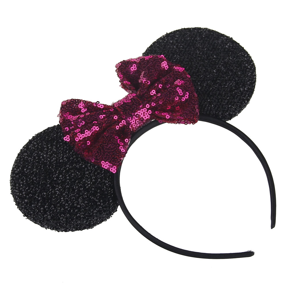 New Fashion Minnie Mouse Ears Hairband With Sequin Hair Bows For Kids Girls  Cute Bling Bow Headband Hair Hoop Hair Accessories USD 1.04-1.72 piece edd6445e0