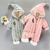 Winter Autumn Baby Rompers Infant Thicken Warm Hooded Jumpsuits Toddler Clothes Onesie Outfit Baby Winter Romper Bebe Clothes