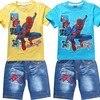 2017 Summer Children Cotton Clothing Sets Baby Boys Cartoon Clothes Sets Spiderman Kids T Shirt Shorts