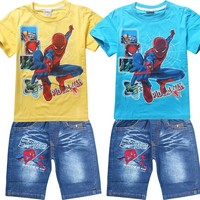 2017 Summer Children Cotton Clothing Sets Baby Boys Cartoon Clothes Sets Spiderman Kids T Shirt Shorts