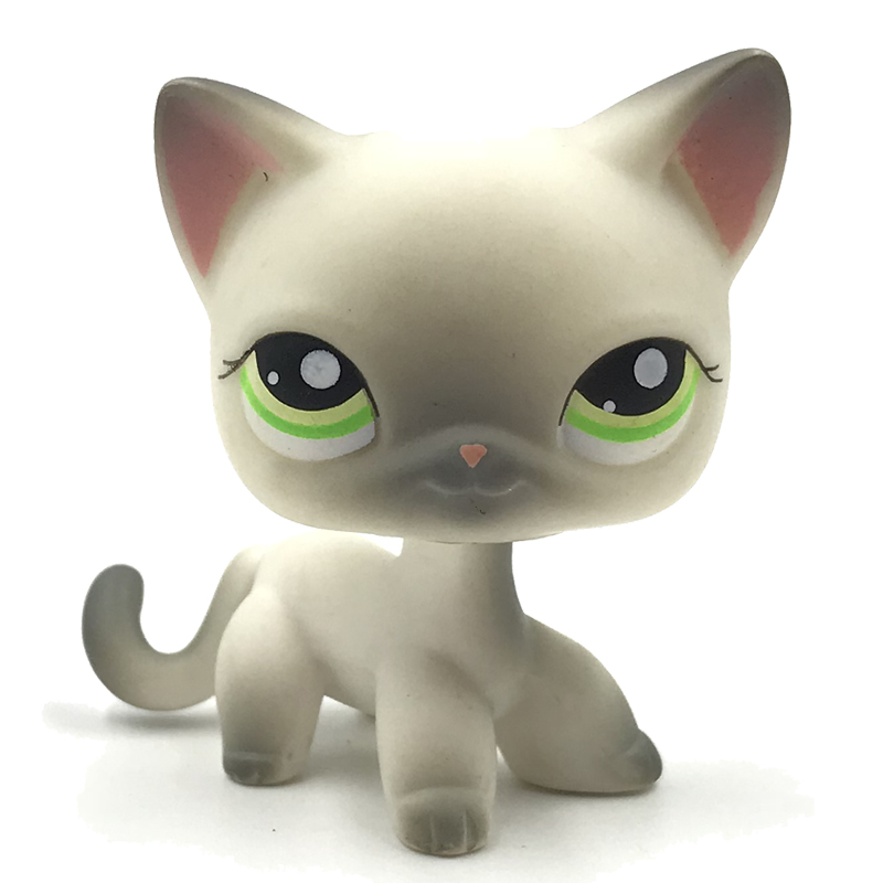 animal pet shop toys original short hair cat standing #125 Real Rare old grey siamase kitty figure child collectible gfts