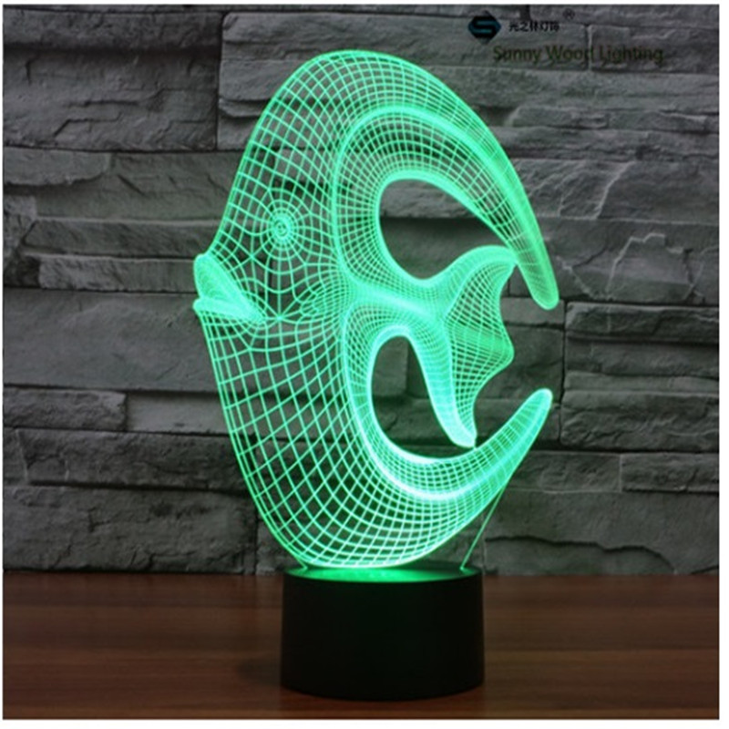 coral reef fish touch switch LED 3D lamp,Visual Illusion 7color changing 5V USB for laptop,Christmas cartoon toy lamp