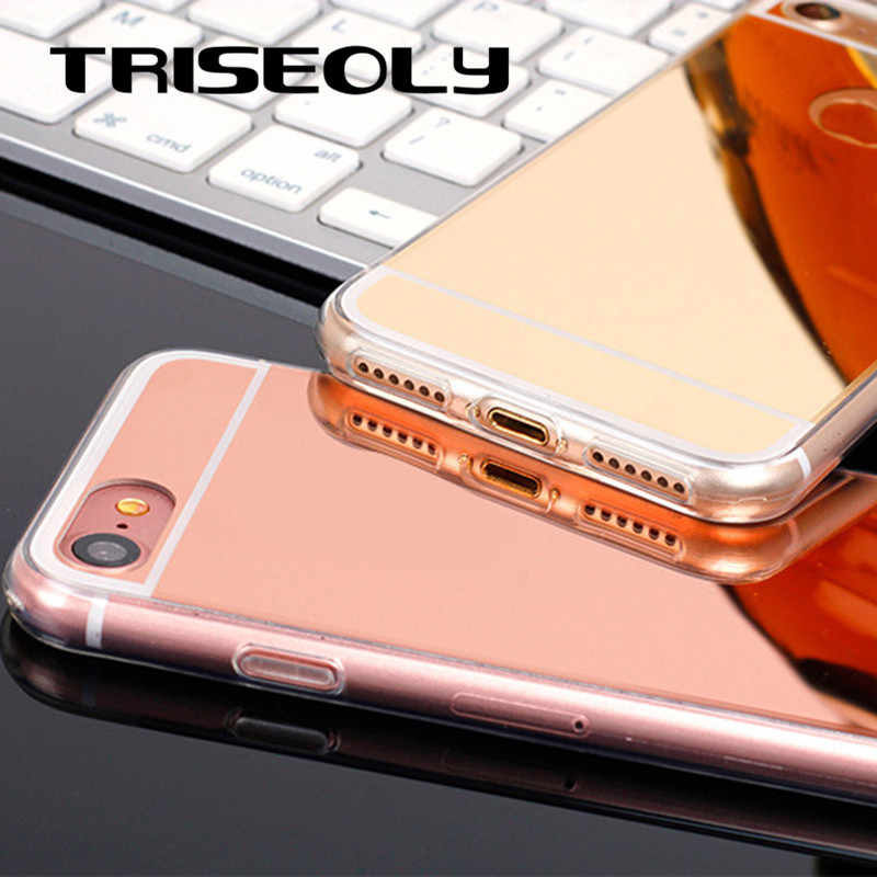 TRISEOLY Rose Gold Mirror Phone Case For OPPO A59 A37 A57 A83 A73 A75 F5 F7 F9 A5 A3S A71 A77 A79 A3 R17 A7 R15 Case TPU Cover